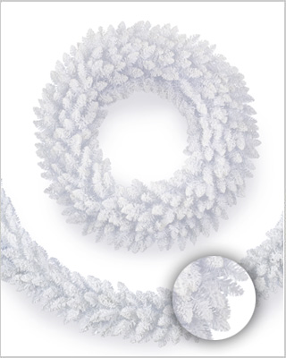 Flocked White Fir Wreaths and Garlands