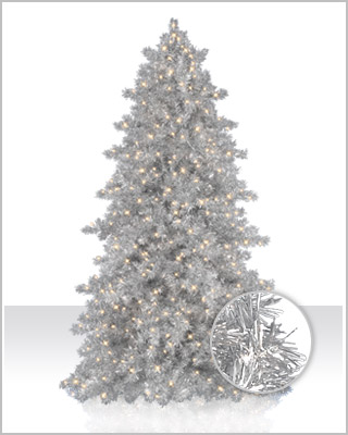 Narrow Silver Tinsel Artificial Christmas Tree | Christmas Tree Market