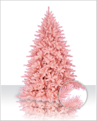 pink flocked spruce tree - Pink Christmas Trees