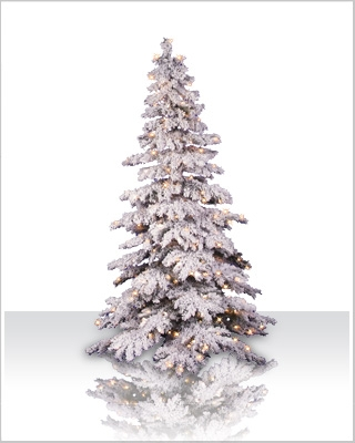 7 Foot Flocked Spruce Pre-Lit Artificial Christmas Tree with Clear Lights