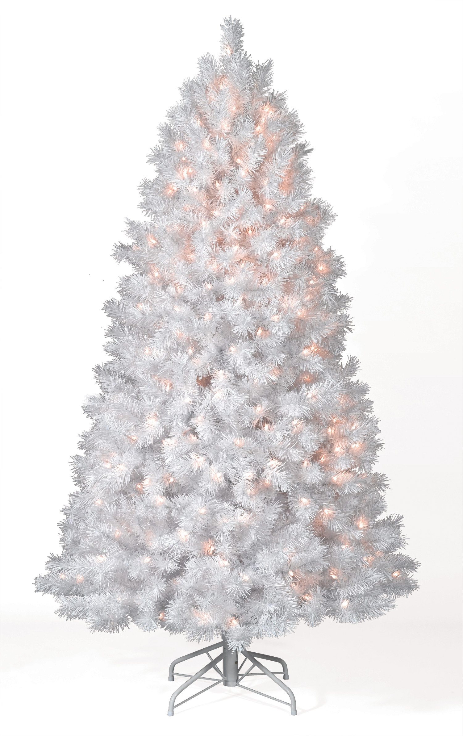 High Quality 7 Foot Shimmering White Christmas Tree With Clear Lights