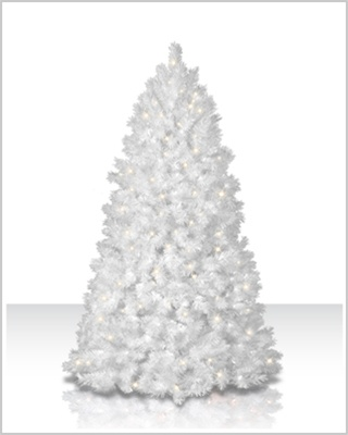 8 Foot Shimmering White Artificial Christmas Trees with Multi Lights