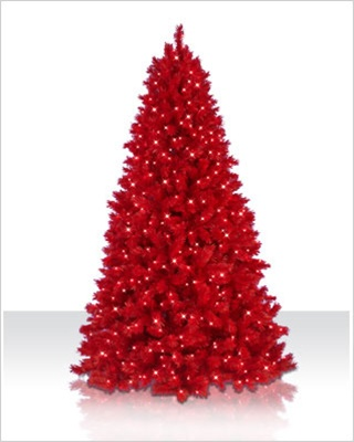 75 foot colored ashley red artificial christmas tree - Artificial Christmas Trees On Sale