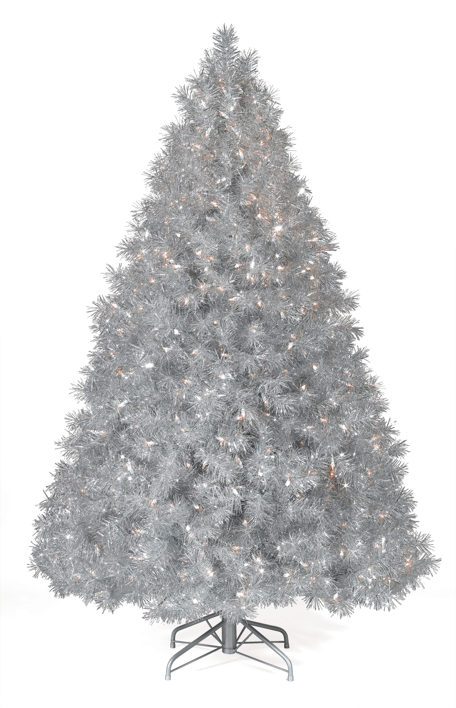7 5 Ft Silver Tinsel Tree Clear Lit Tree Christmas Tree