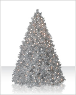 7.5 Foot Colored Tinsel Silver Christmas Tree