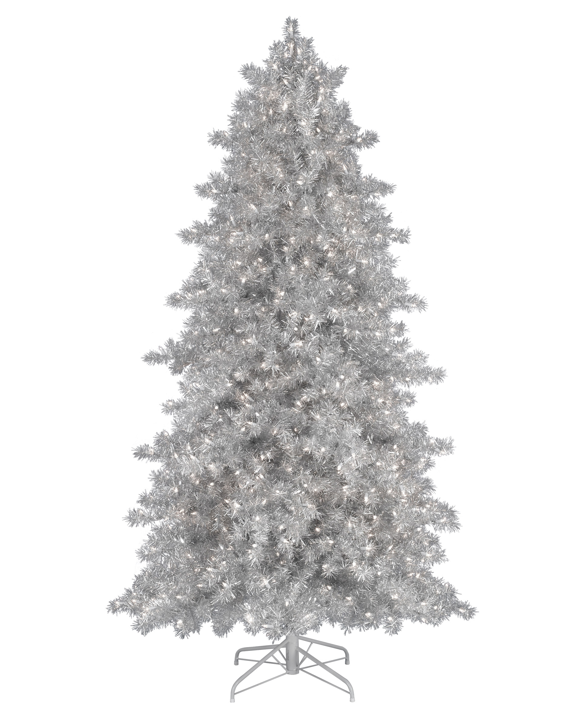 5' Narrow Silver Tinsel Tree with Clear Lights | Christmas Tree Market