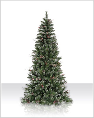 4.5 foot Unlit Snow Tipped Berry Pine Christmas Tree