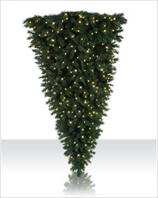 7 Foot Upside Down Artificial Christmas Tree with Clear Lights