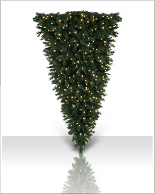 7 Foot Colored Upside Down Artificial Christmas Tree